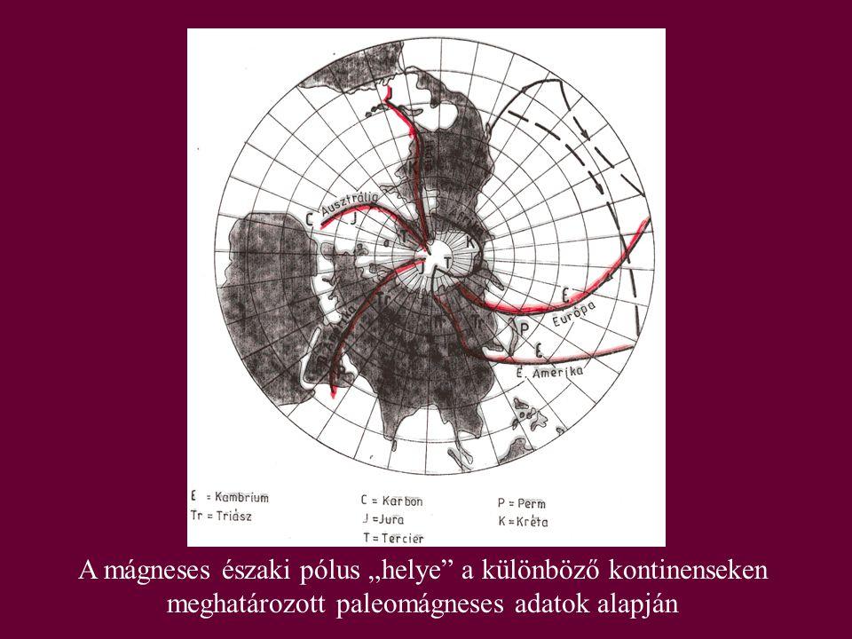 """A mágneses északi pólus """"helye a különböző kontinenseken meghatározott paleomágneses adatok alapján"""