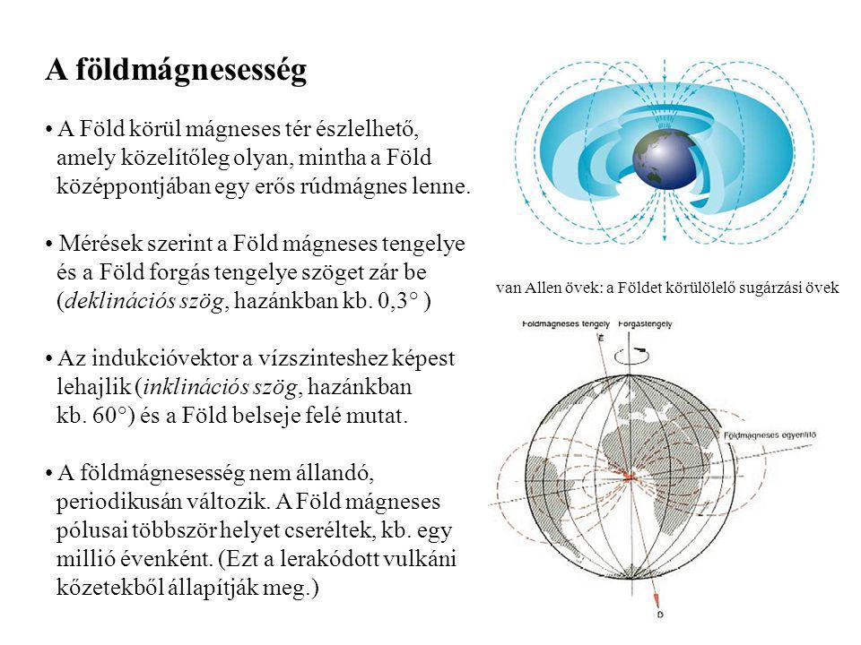 A földmágnesesség A Föld körül mágneses tér észlelhető, amely közelítőleg olyan, mintha a Föld középpontjában egy erős rúdmágnes lenne.