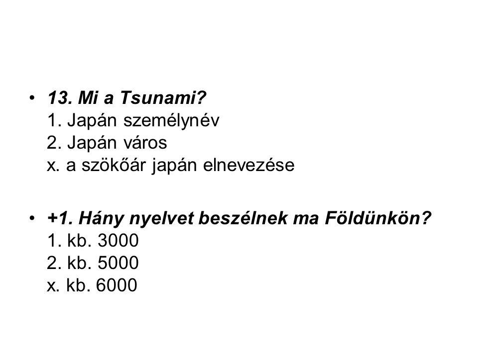 13. Mi a Tsunami. 1. Japán személynév 2. Japán város x