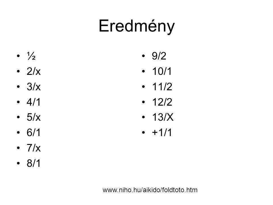 Eredmény ½ 2/x 3/x 4/1 5/x 6/1 7/x 8/1 9/2 10/1 11/2 12/2 13/X +1/1
