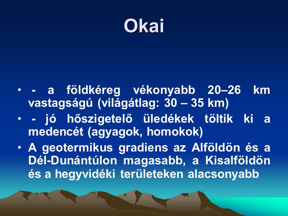 Okai - a földkéreg vékonyabb 20–26 km vastagságú (világátlag: 30 – 35 km) - jó hőszigetelő üledékek töltik ki a medencét (agyagok, homokok)