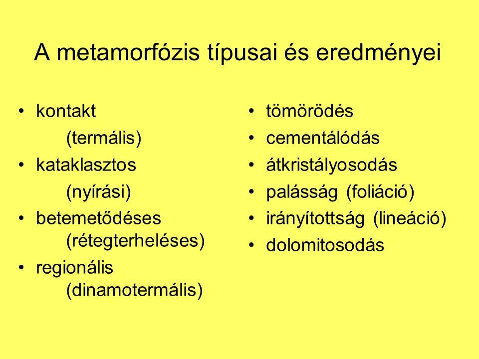 A metamorfózis típusai és eredményei
