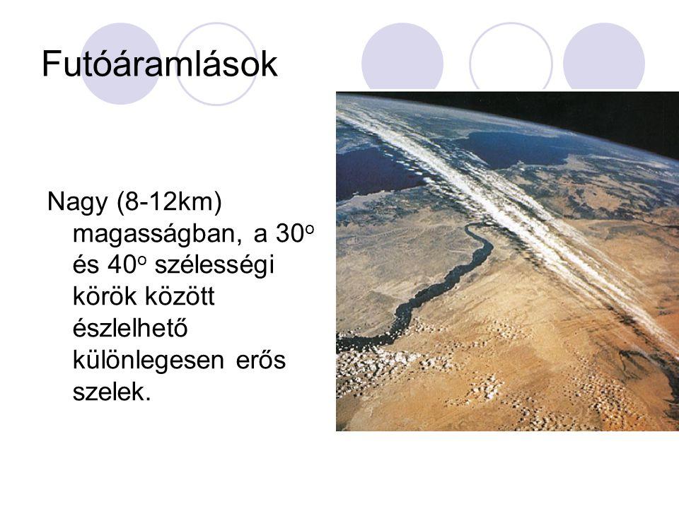 Futóáramlások Nagy (8-12km) magasságban, a 30o és 40o szélességi körök között észlelhető különlegesen erős szelek.