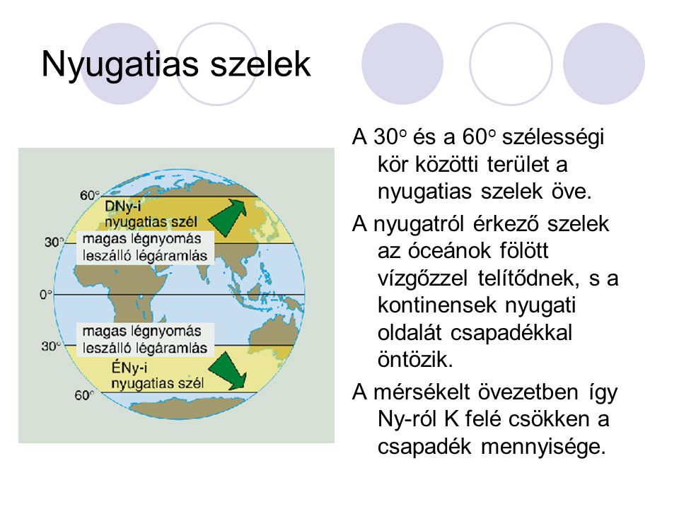 Nyugatias szelek A 30o és a 60o szélességi kör közötti terület a nyugatias szelek öve.
