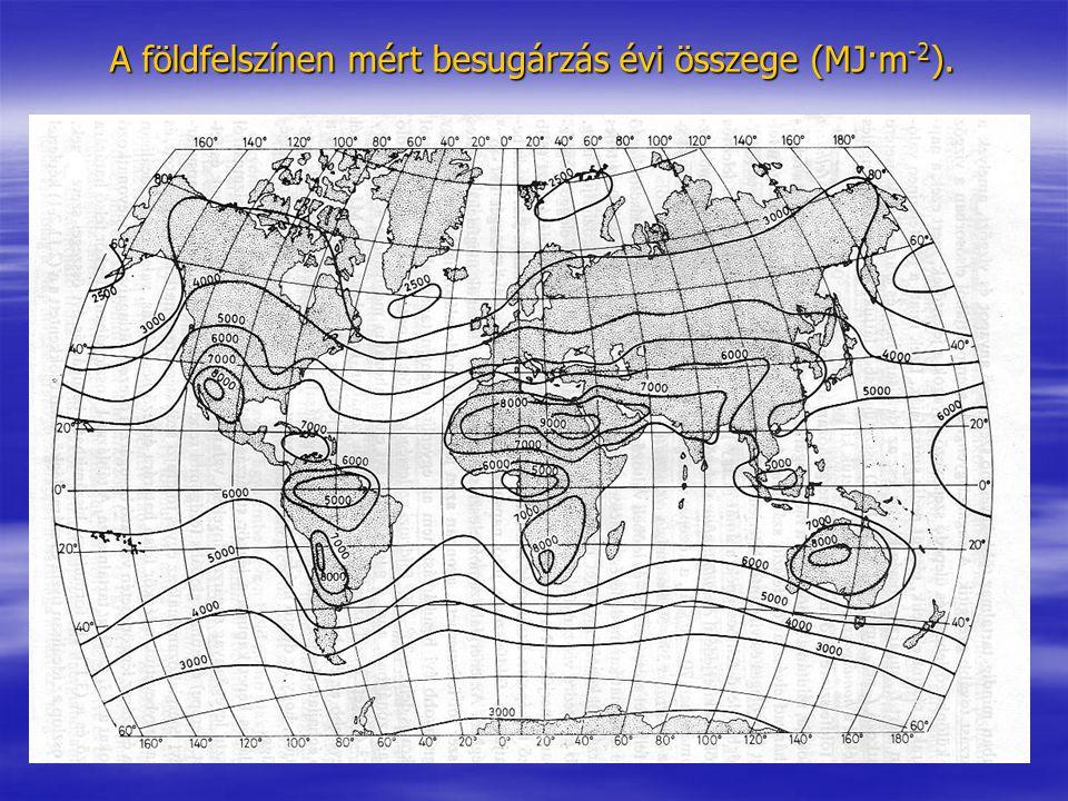A földfelszínen mért besugárzás évi összege (MJ·m-2).