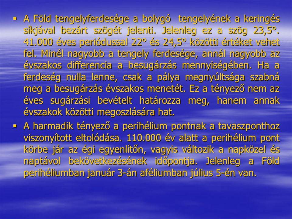 A Föld tengelyferdesége a bolygó tengelyének a keringés síkjával bezárt szögét jelenti. Jelenleg ez a szög 23,5°. 41.000 éves periódussal 22° és 24,5° közötti értéket vehet fel. Minél nagyobb a tengely ferdesége, annál nagyobb az évszakos differencia a besugárzás mennyiségében. Ha a ferdeség nulla lenne, csak a pálya megnyúltsága szabná meg a besugárzás évszakos menetét. Ez a tényező nem az éves sugárzási bevételt határozza meg, hanem annak évszakok közötti megoszlására hat.