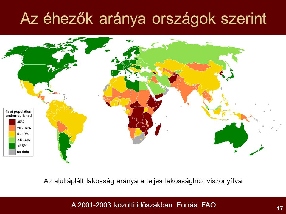 Az éhezők aránya országok szerint