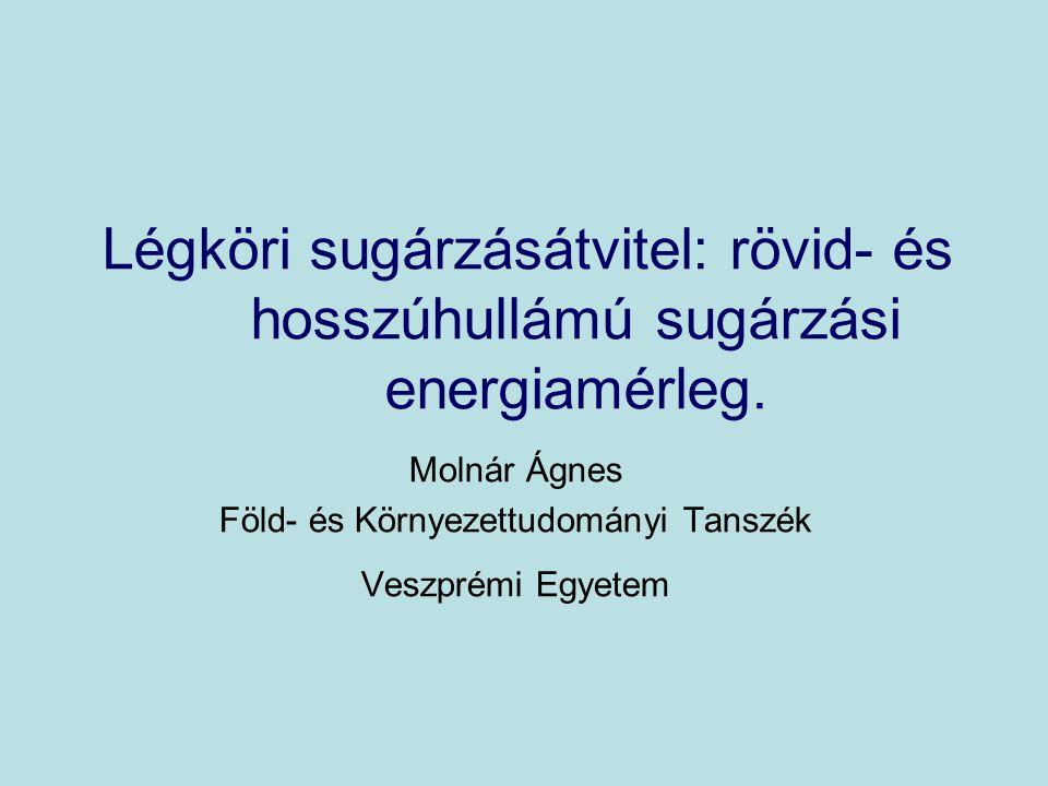 Molnár Ágnes Föld- és Környezettudományi Tanszék Veszprémi Egyetem