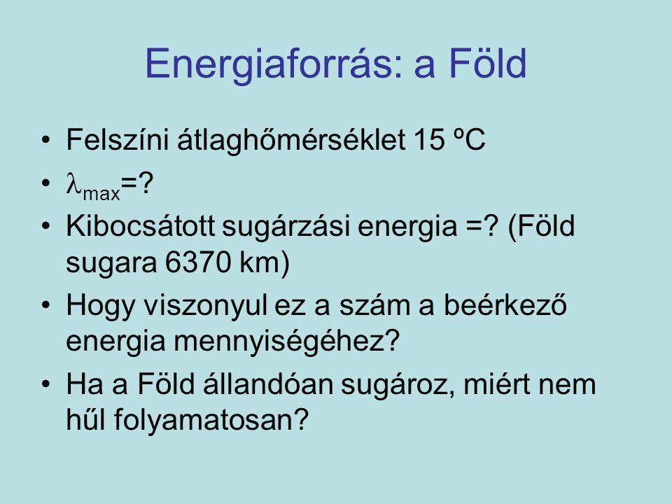Energiaforrás: a Föld Felszíni átlaghőmérséklet 15 ºC max=