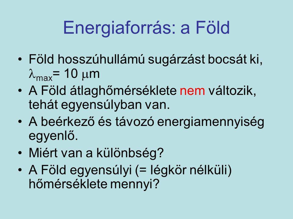 Energiaforrás: a Föld Föld hosszúhullámú sugárzást bocsát ki, max= 10 m. A Föld átlaghőmérséklete nem változik, tehát egyensúlyban van.
