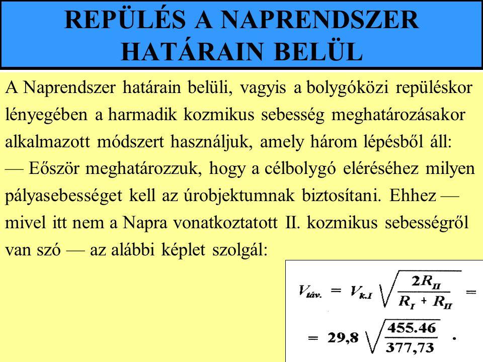 REPÜLÉS A NAPRENDSZER HATÁRAIN BELÜL