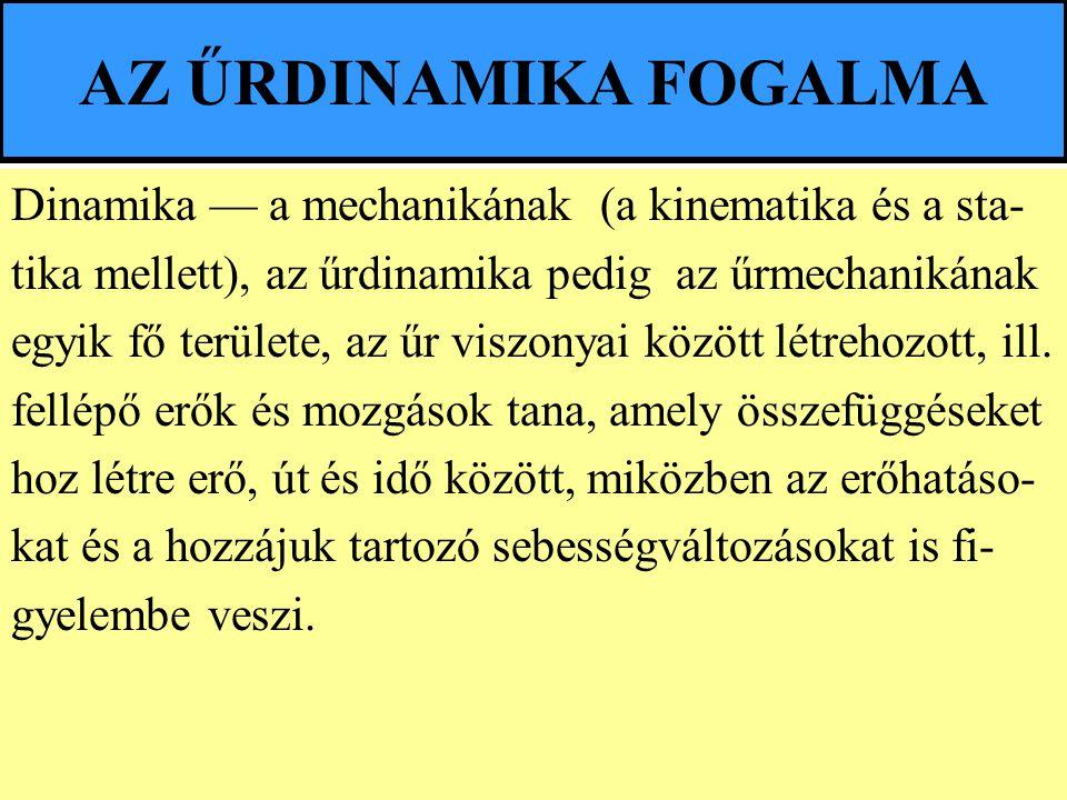 AZ ŰRDINAMIKA FOGALMA Dinamika — a mechanikának (a kinematika és a sta- tika mellett), az űrdinamika pedig az űrmechanikának.