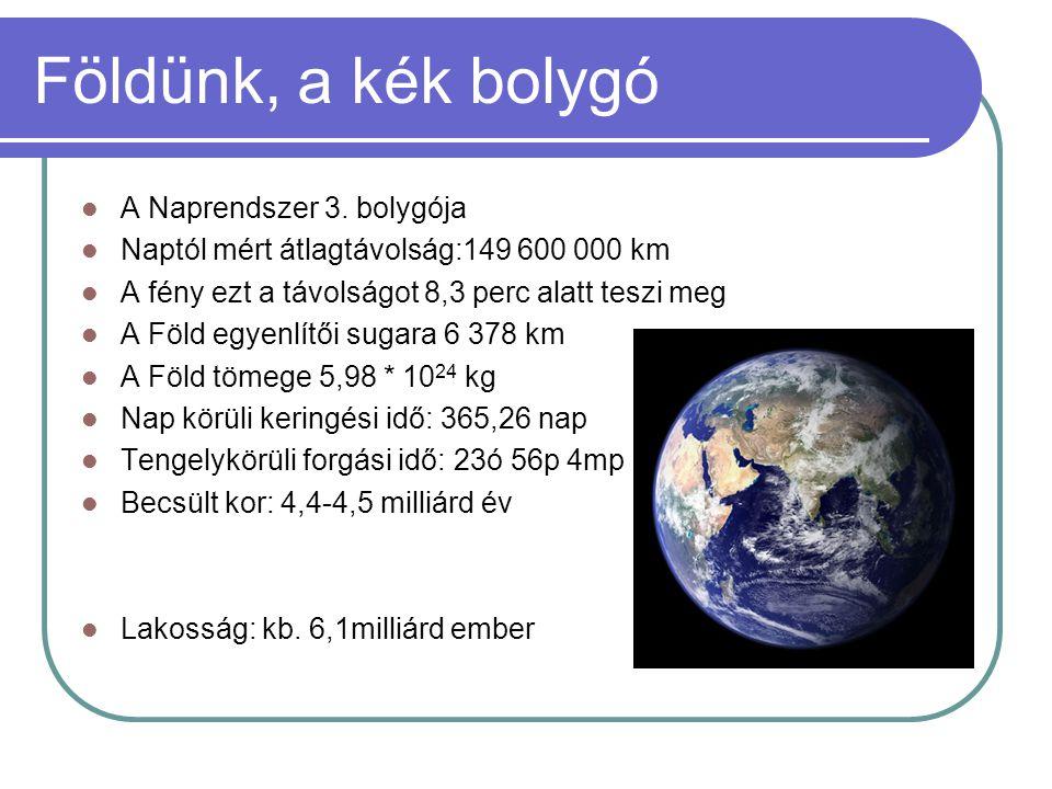 Földünk, a kék bolygó A Naprendszer 3. bolygója