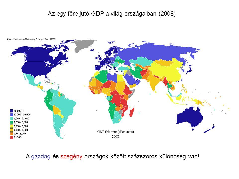 Az egy főre jutó GDP a világ országaiban (2008)