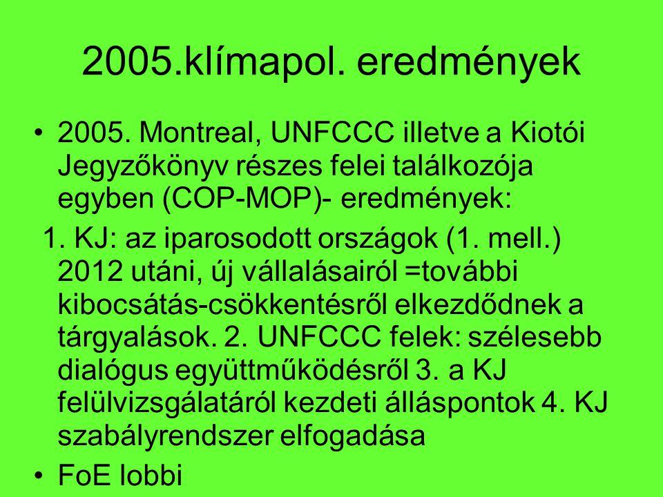 2005.klímapol. eredmények 2005. Montreal, UNFCCC illetve a Kiotói Jegyzőkönyv részes felei találkozója egyben (COP-MOP)- eredmények: