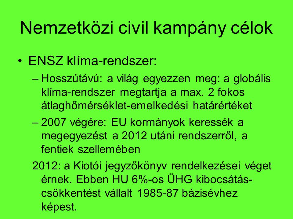 Nemzetközi civil kampány célok