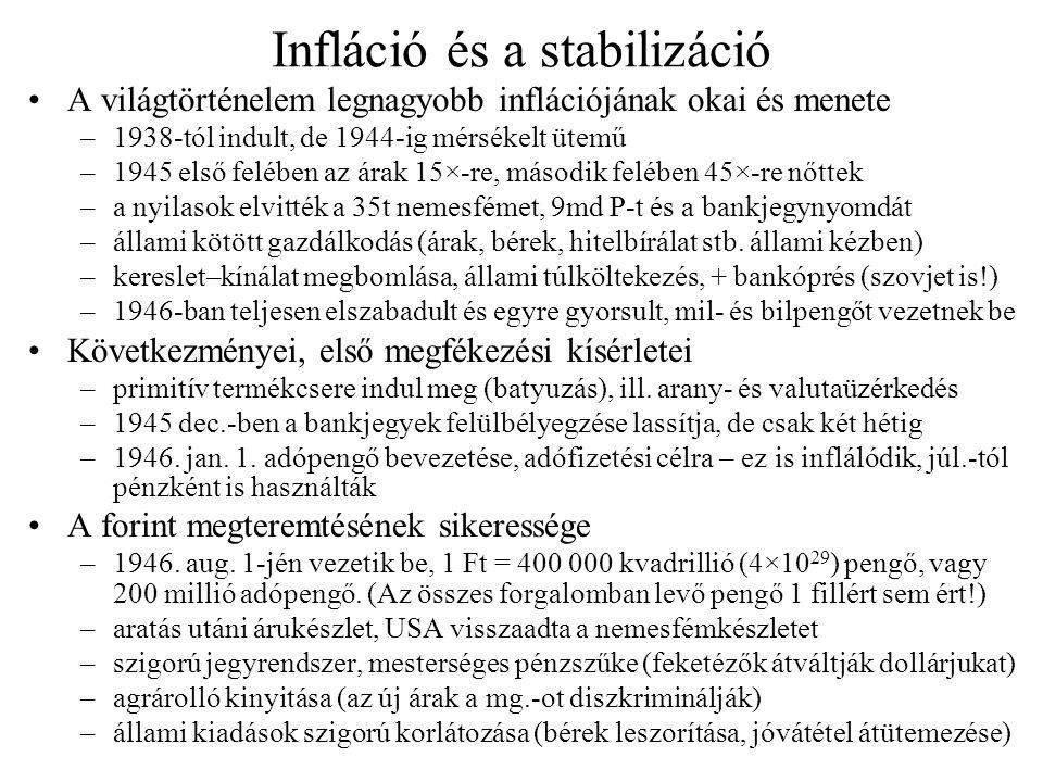 Infláció és a stabilizáció