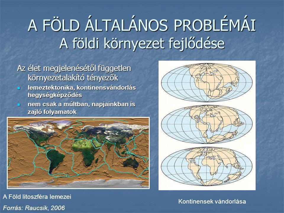 A FÖLD ÁLTALÁNOS PROBLÉMÁI A földi környezet fejlődése