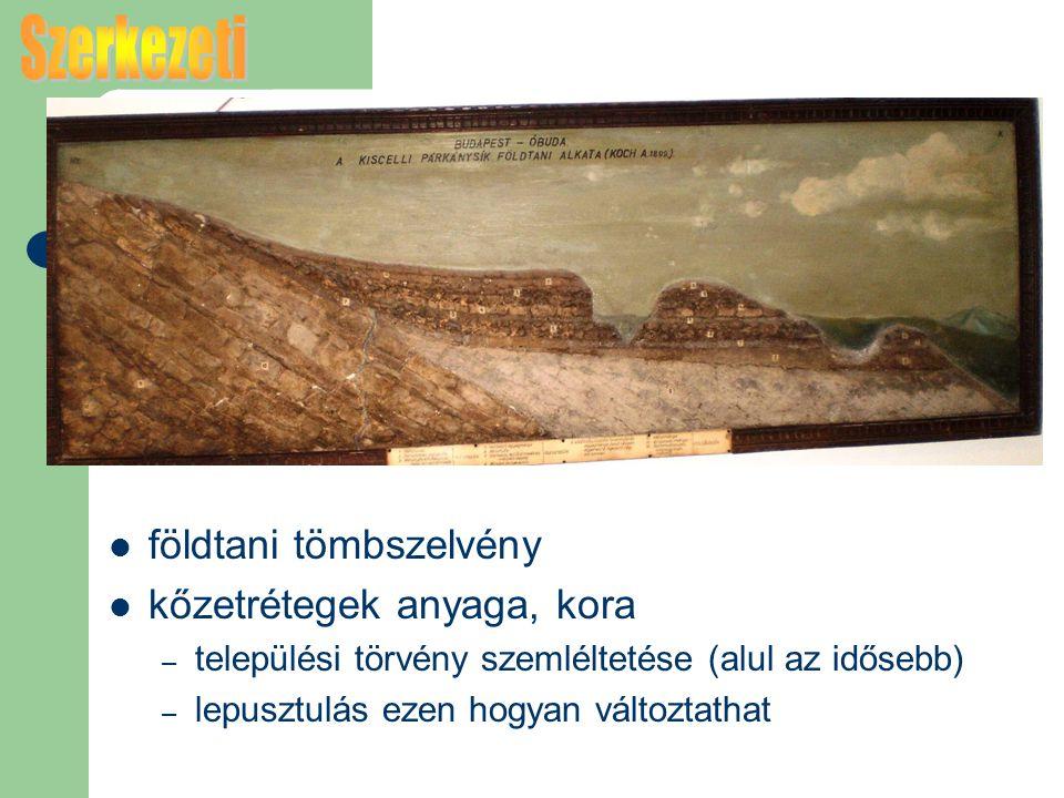 Szerkezeti földtani tömbszelvény kőzetrétegek anyaga, kora