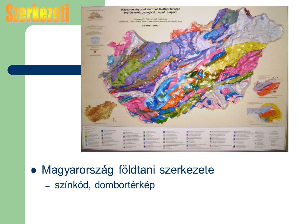 Szerkezeti Magyarország földtani szerkezete színkód, dombortérkép