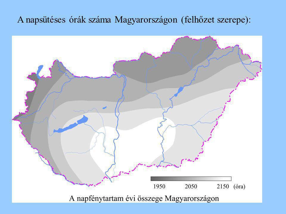 A napsütéses órák száma Magyarországon (felhőzet szerepe):