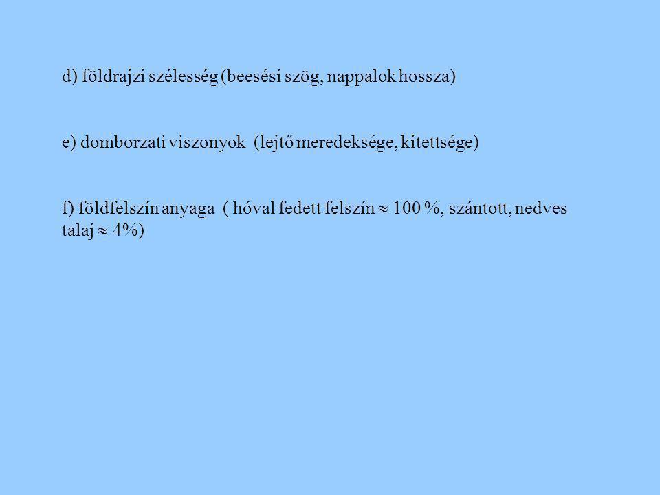 d) földrajzi szélesség (beesési szög, nappalok hossza)
