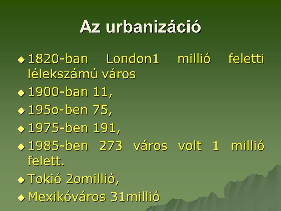 Az urbanizáció 1820-ban London1 millió feletti lélekszámú város