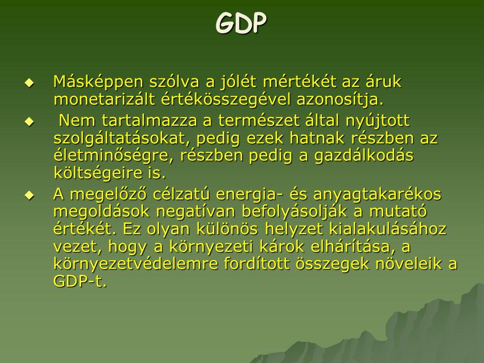 GDP Másképpen szólva a jólét mértékét az áruk monetarizált értékösszegével azonosítja.