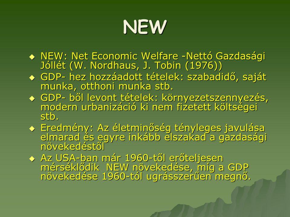 NEW NEW: Net Economic Welfare -Nettó Gazdasági Jóllét (W. Nordhaus, J. Tobin (1976))