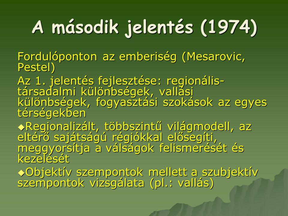 A második jelentés (1974) Fordulóponton az emberiség (Mesarovic, Pestel)