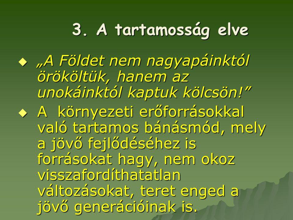 """3. A tartamosság elve """"A Földet nem nagyapáinktól örököltük, hanem az unokáinktól kaptuk kölcsön!"""