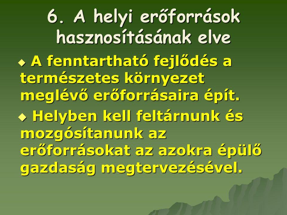6. A helyi erőforrások hasznosításának elve