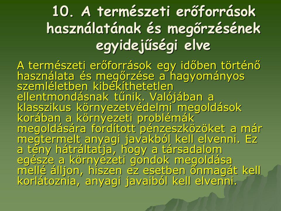 10. A természeti erőforrások használatának és megőrzésének egyidejűségi elve