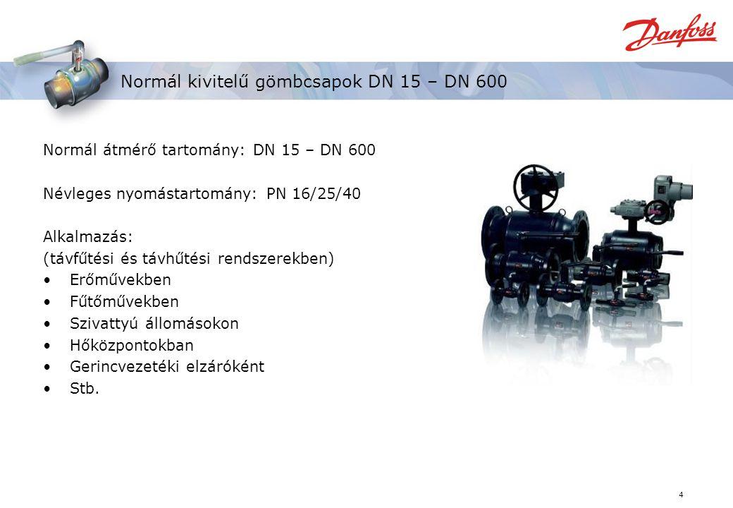 Normál kivitelű gömbcsapok DN 15 – DN 600