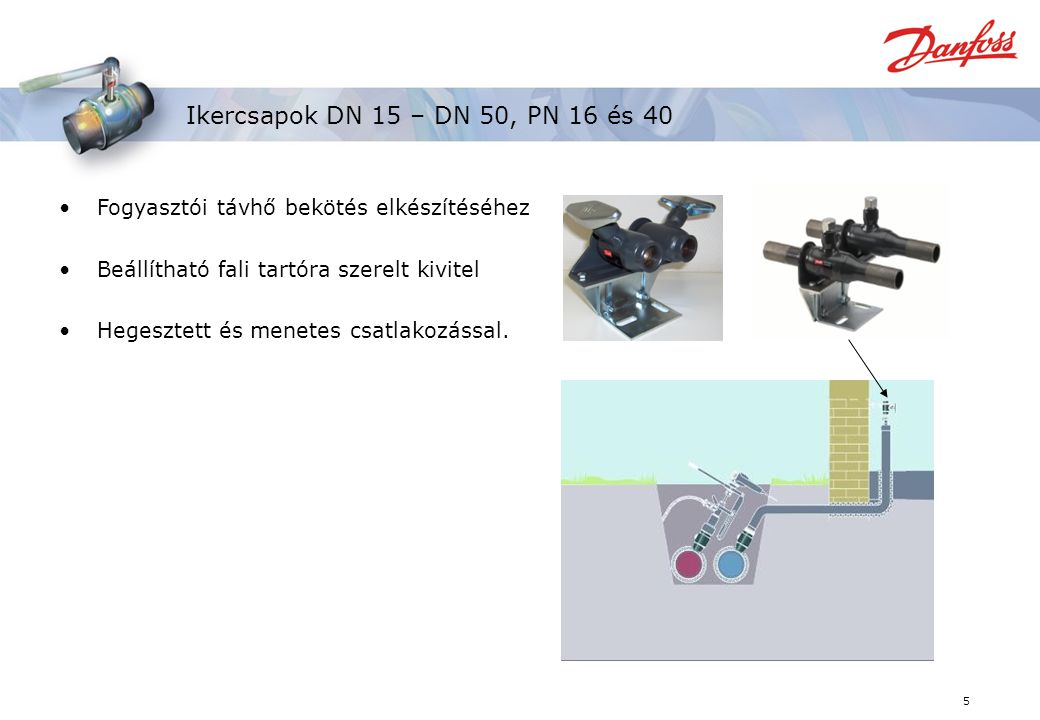 Ikercsapok DN 15 – DN 50, PN 16 és 40 Fogyasztói távhő bekötés elkészítéséhez. Beállítható fali tartóra szerelt kivitel.