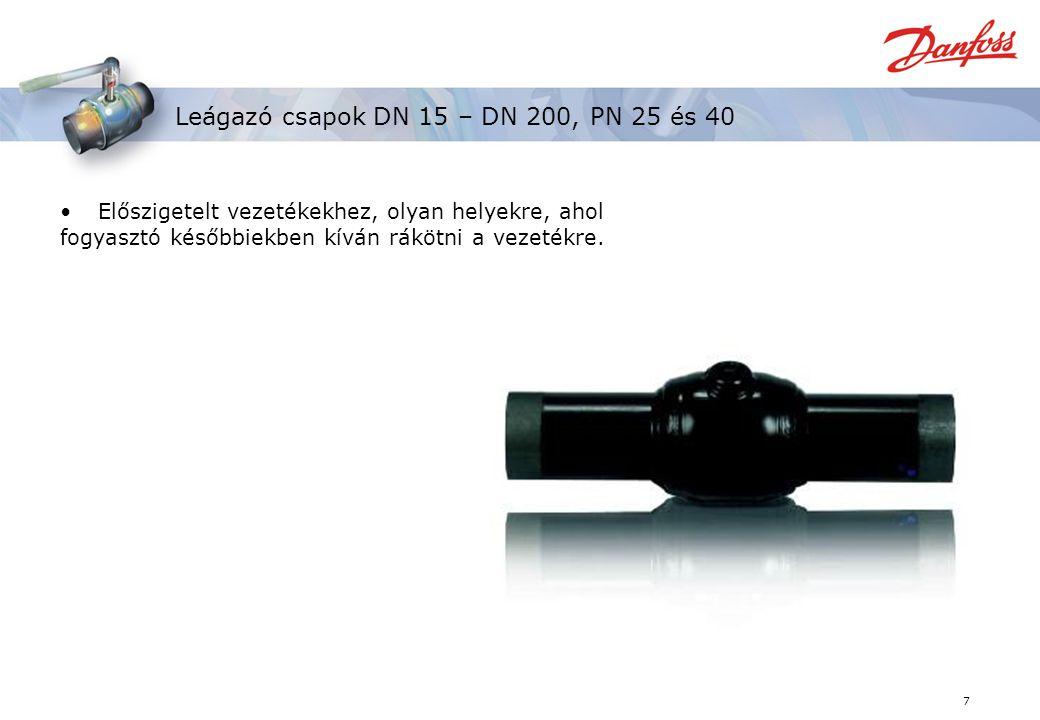 Leágazó csapok DN 15 – DN 200, PN 25 és 40