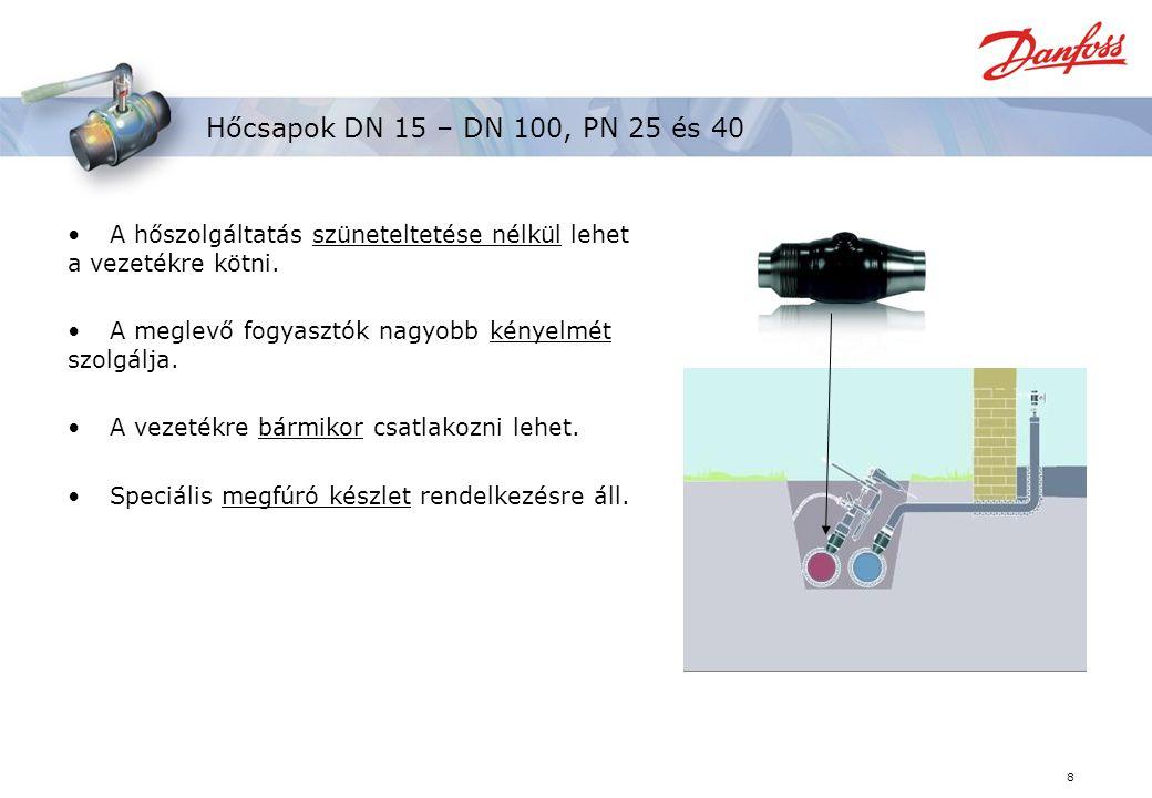 Hőcsapok DN 15 – DN 100, PN 25 és 40 A hőszolgáltatás szüneteltetése nélkül lehet a vezetékre kötni.