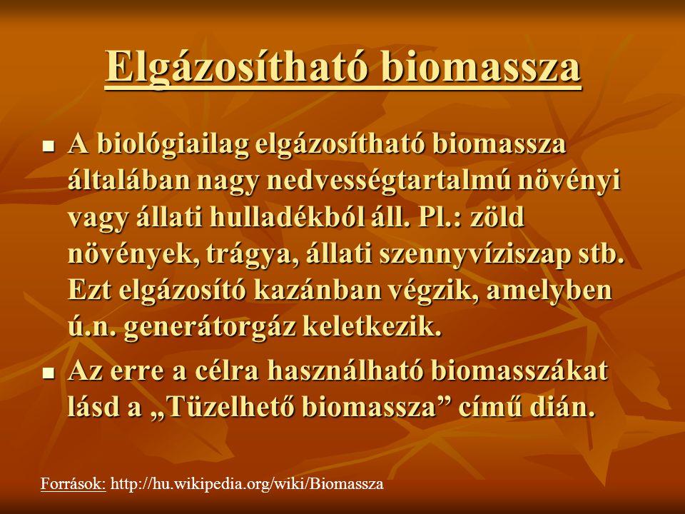 Elgázosítható biomassza