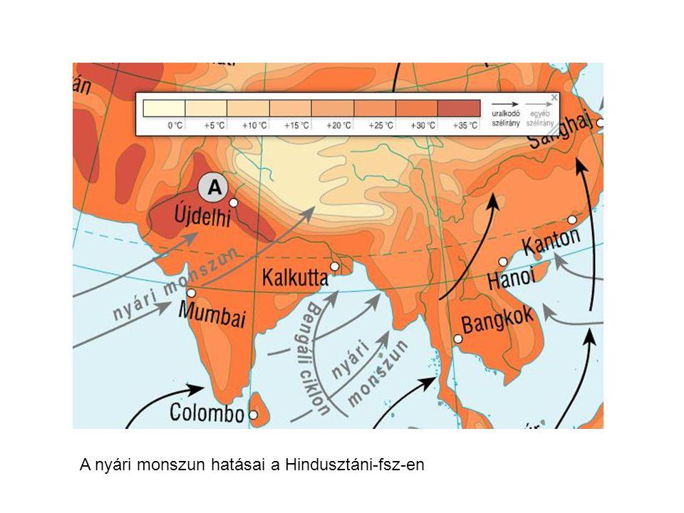 A nyári monszun hatásai a Hindusztáni-fsz-en