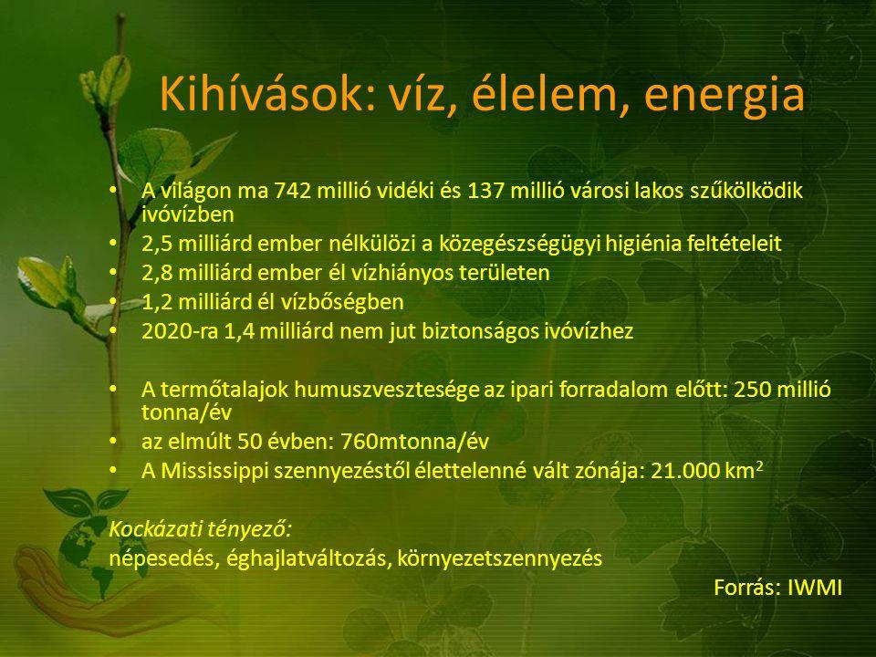 Kihívások: víz, élelem, energia