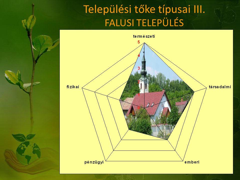 Települési tőke típusai III. FALUSI TELEPÜLÉS