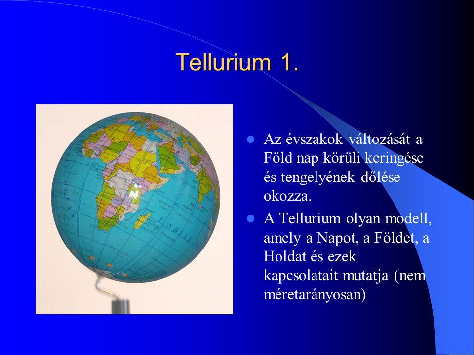Tellurium 1. Az évszakok változását a Föld nap körüli keringése és tengelyének dőlése okozza.