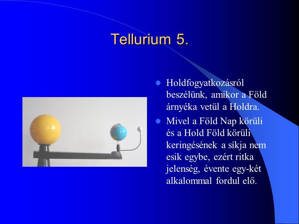 Tellurium 5. Holdfogyatkozásról beszélünk, amikor a Föld árnyéka vetül a Holdra.