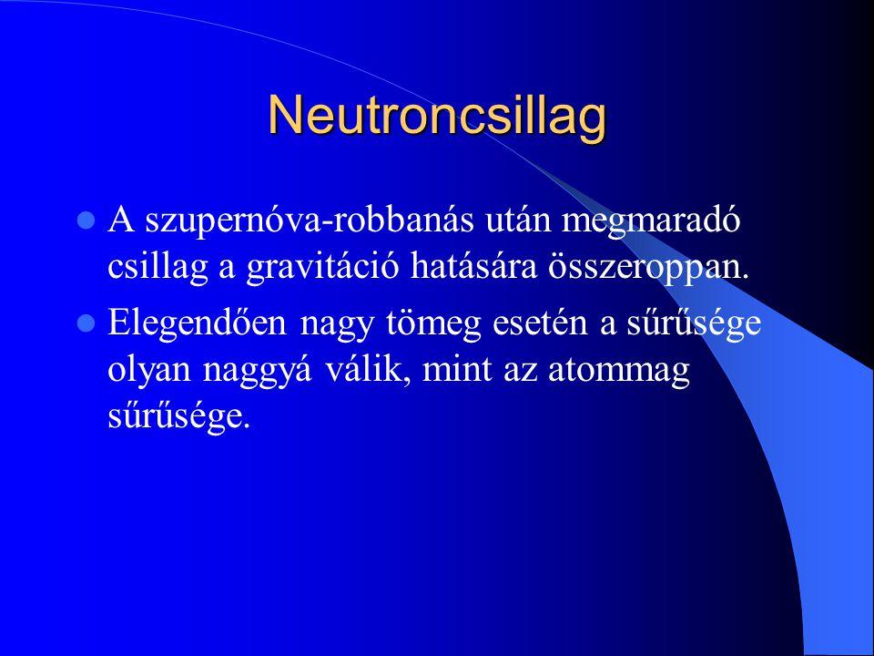 Neutroncsillag A szupernóva-robbanás után megmaradó csillag a gravitáció hatására összeroppan.