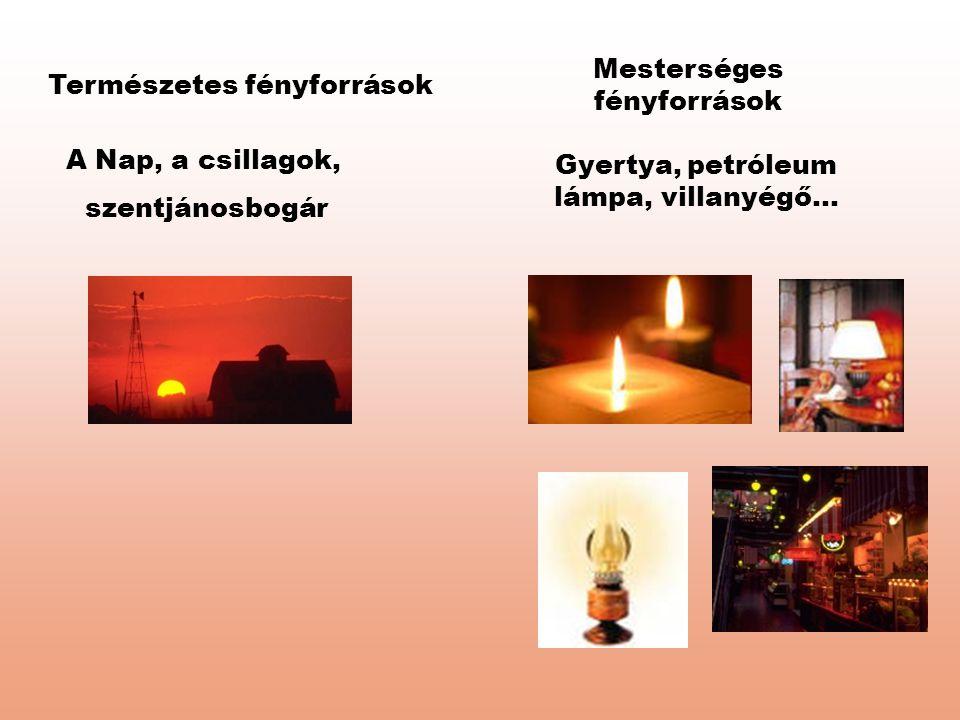 Természetes fényforrások Mesterséges fényforrások