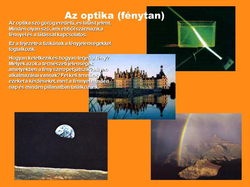 Az optika (fénytan) Az optika szó görög eredetű, és látást jelent. Minden olyan szó, ami ebből származik a fénnyel és a látással kapcsolatos.