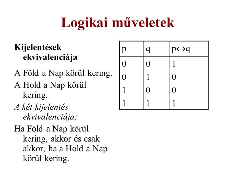 Logikai műveletek Kijelentések ekvivalenciája