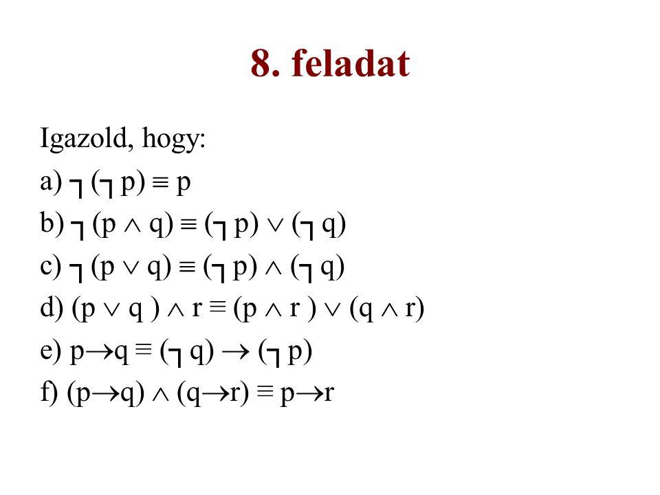 8. feladat Igazold, hogy: a) ┐(┐p)  p b) ┐(p  q)  (┐p)  (┐q)
