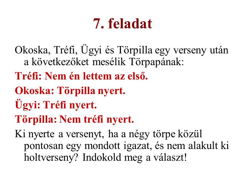 7. feladat Okoska, Tréfi, Ügyi és Törpilla egy verseny után a következőket mesélik Törpapának: Tréfi: Nem én lettem az első.