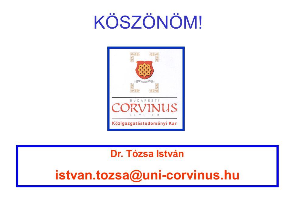 KÖSZÖNÖM! Dr. Tózsa István istvan.tozsa@uni-corvinus.hu